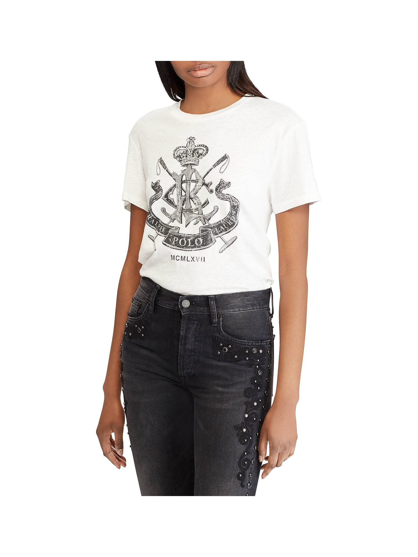 Buy Polo Ralph Lauren Collegiate Crest Jersey T-Shirt, Nevis White, L Online at johnlewis.com
