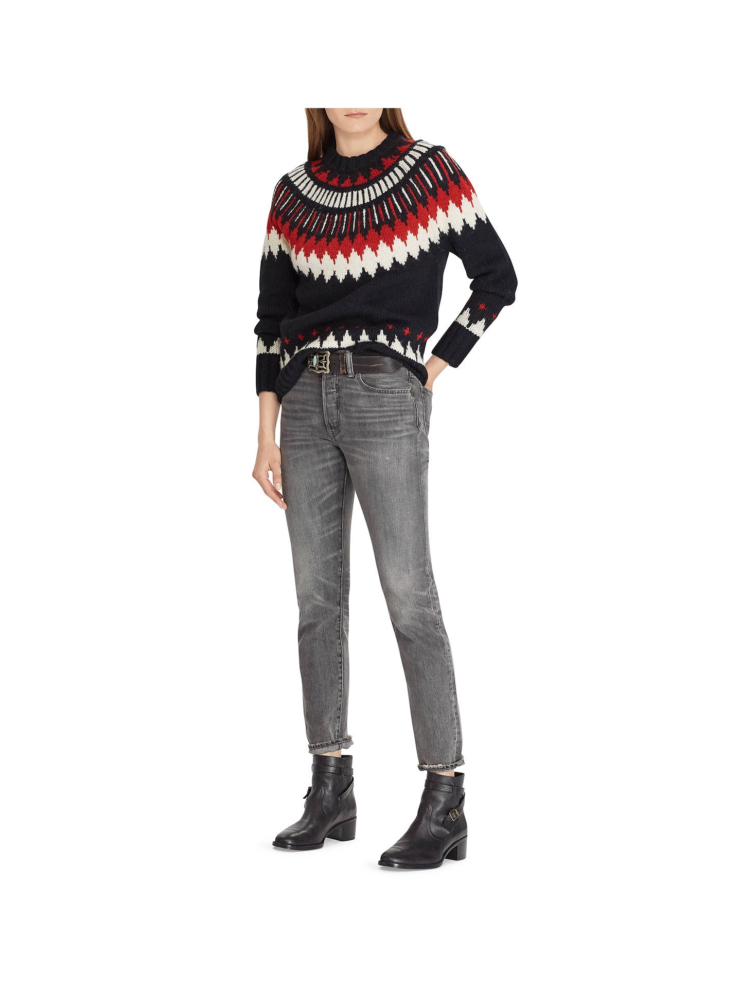 BuyPolo Ralph Lauren Wool Blend Jumper, Black/Red, XS Online at johnlewis.com