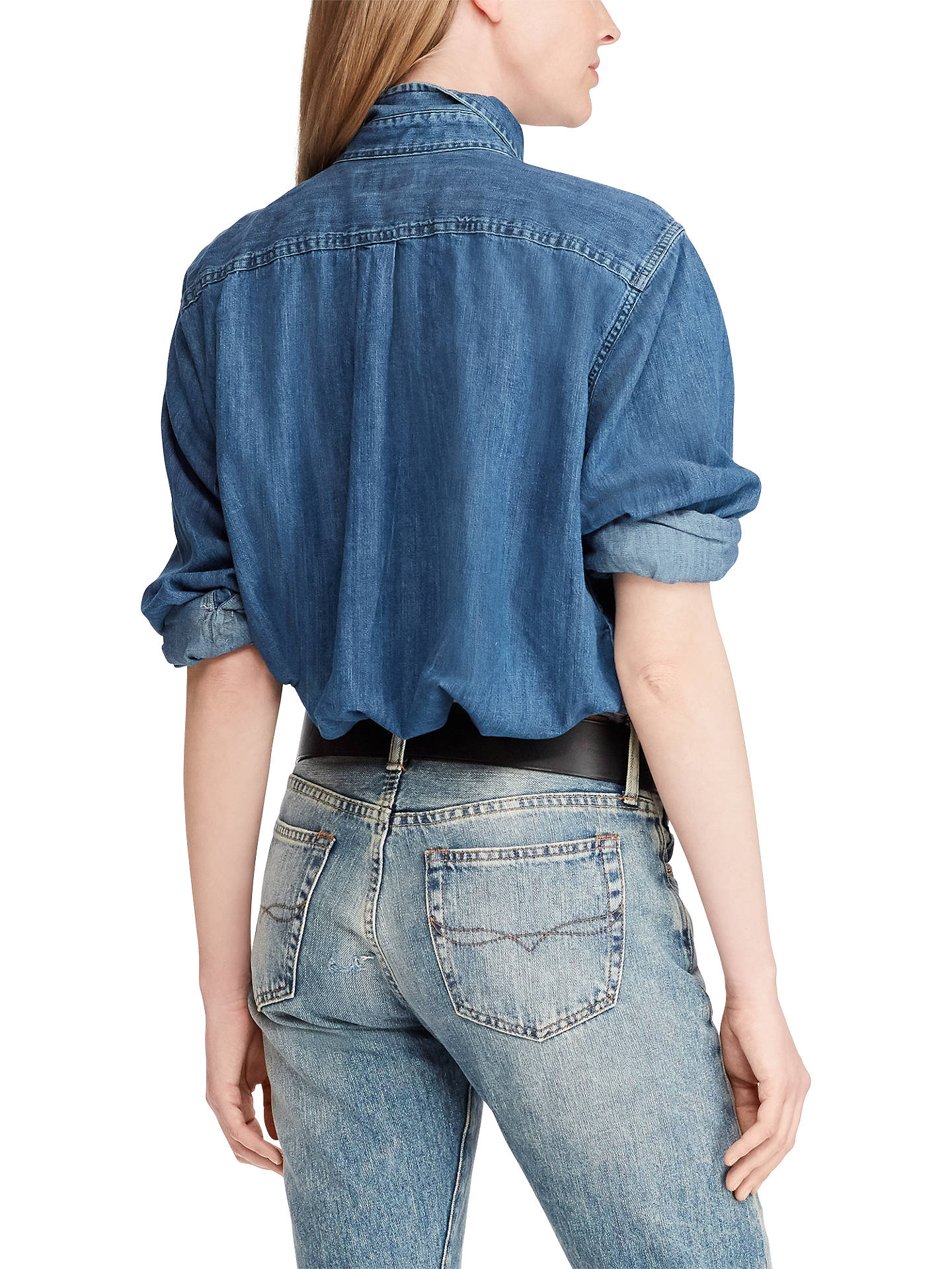 4ea445dc2 ... Buy Polo Ralph Lauren Long Sleeve Chambray Big Shirt, Medium Indigo, XS  Online at ...