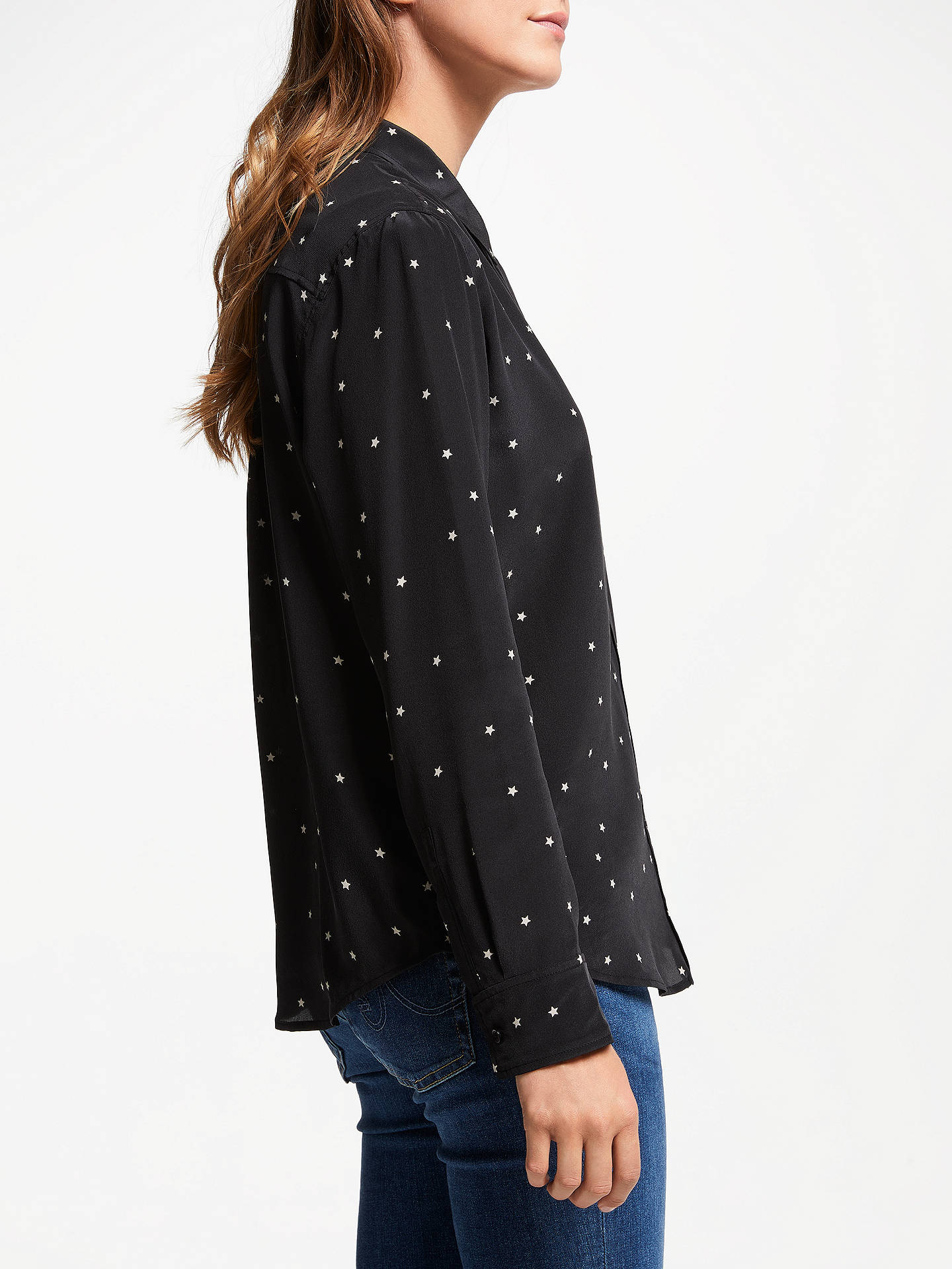 Buy Rails Kate Twinkle Silk Shirt, Black, S Online at johnlewis.com