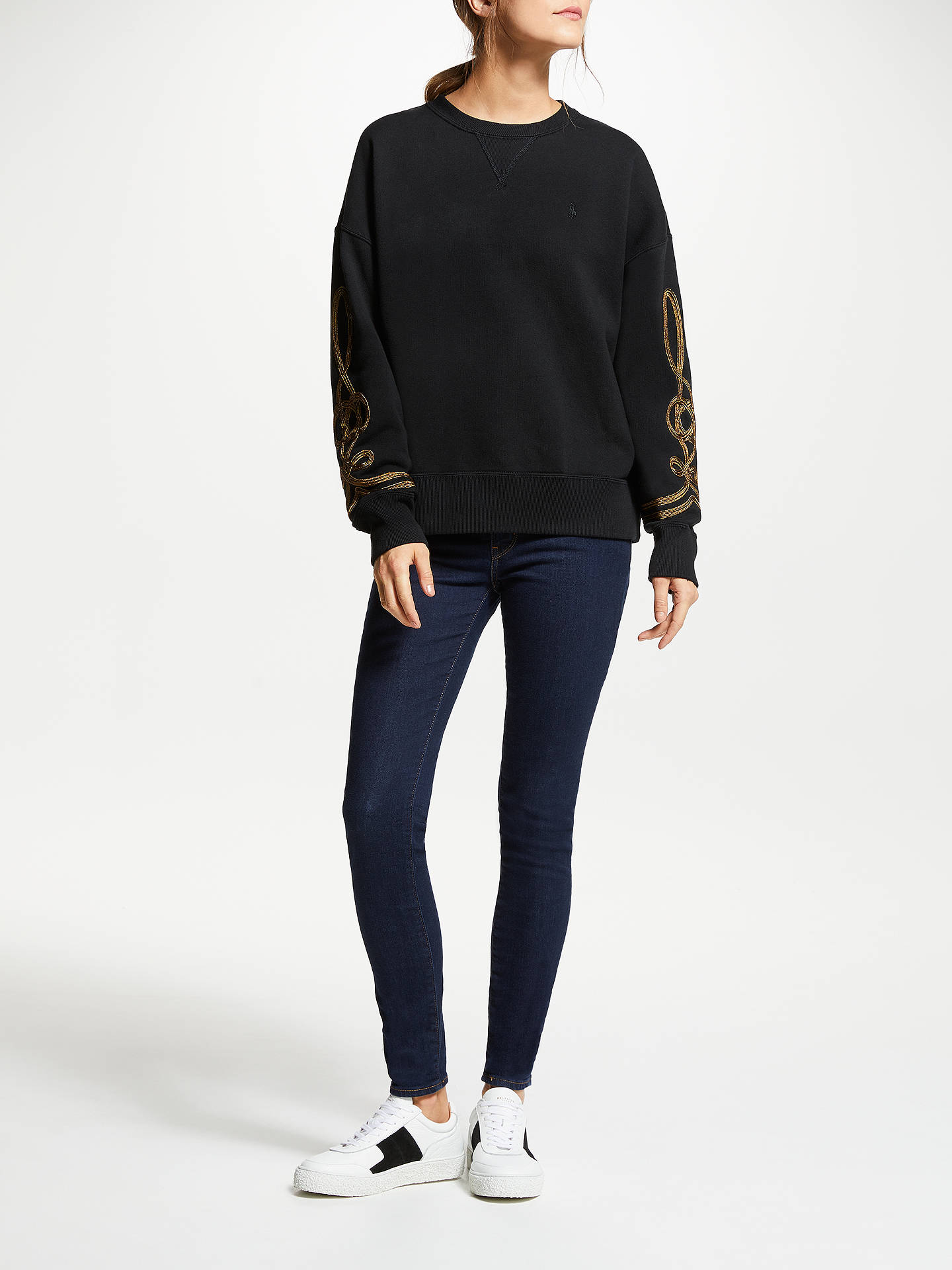 BuyPolo Ralph Lauren Bullion Trim Sweatshirt, Polo Black, XS Online at johnlewis.com