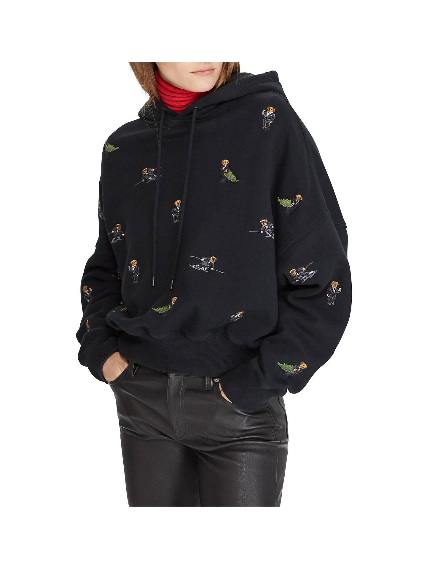 Polo Ralph Lauren Polo Bear Print Fleece Hoodie Black At