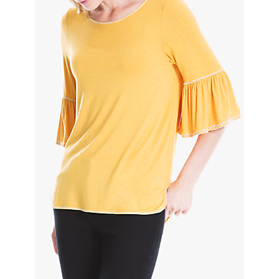Max Studio Frill Sleeve Jersey Top, Heather Honey/Ivory