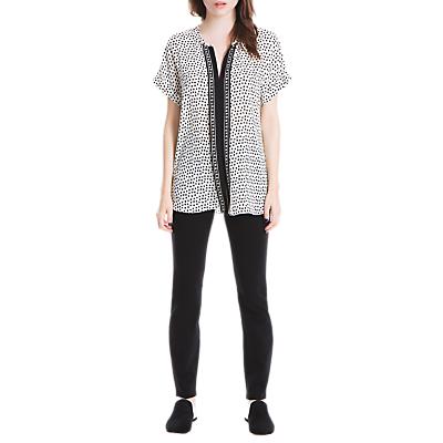 Max Studio Pleat Front Spot T-Shirt, Ivory/Black