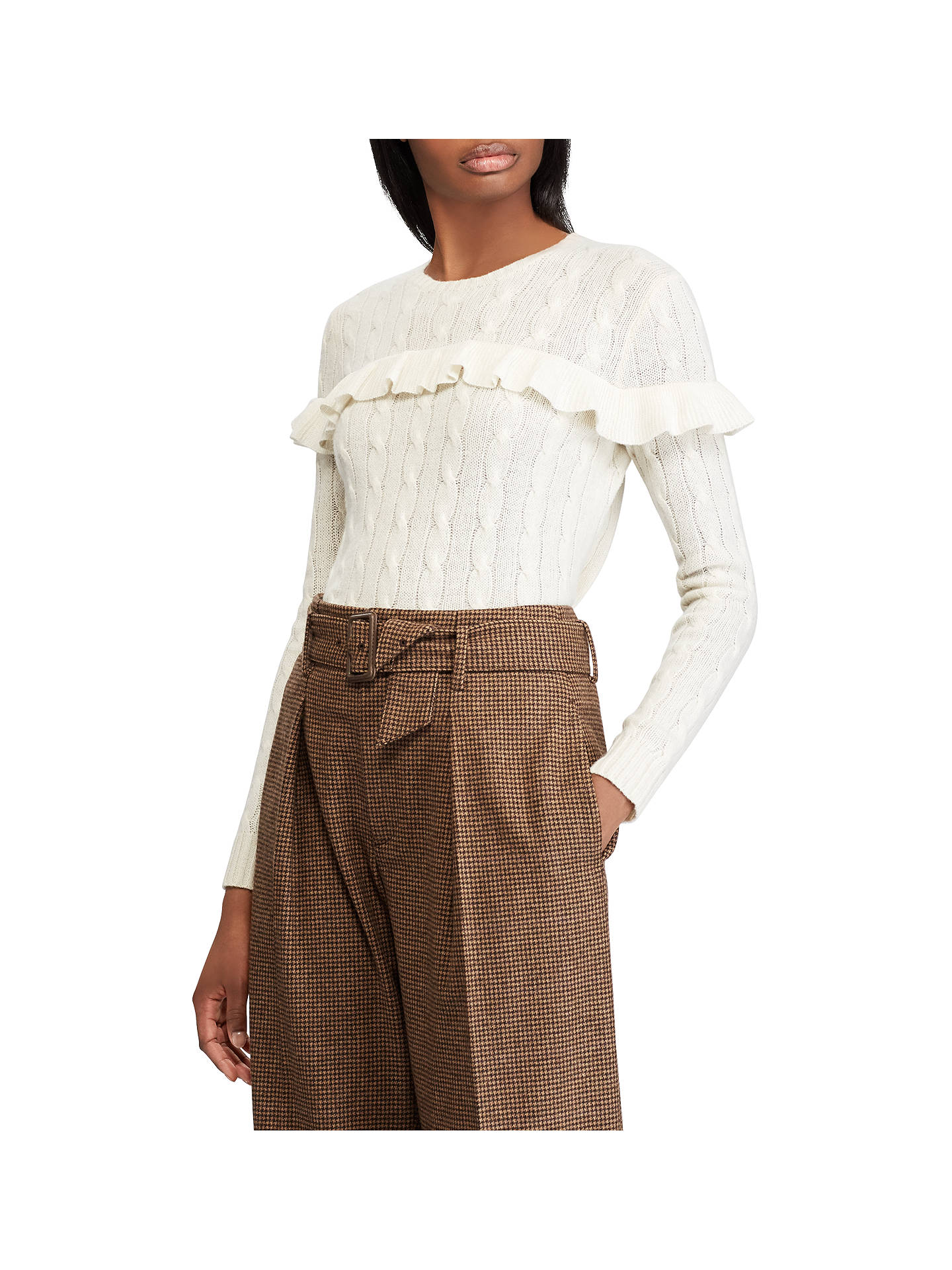 BuyPolo Ralph Lauren Cable Knit Ruffle Jumper, Cream, L Online at johnlewis.com