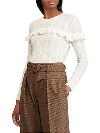 Buy Polo Ralph Lauren Cable Knit Ruffle Jumper, Cream, XS Online at johnlewis.com