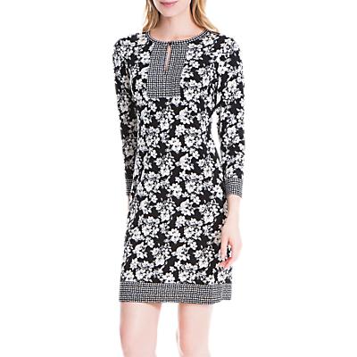 Max Studio Floral Print Half Sleeve Jersey Dress, Black/Ivory