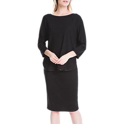 Max Studio 3/4 Sleeve Pin Dot Jersey T-Shirt, Black