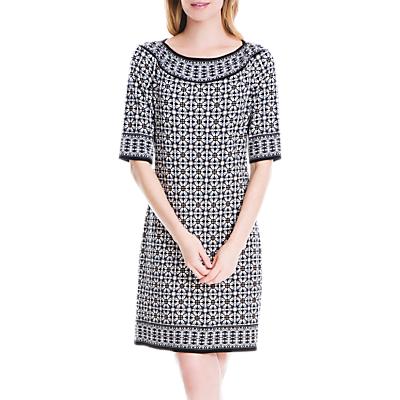 Max Studio Half Sleeve Geo Print Dress, Black/Taupe Floral Globe