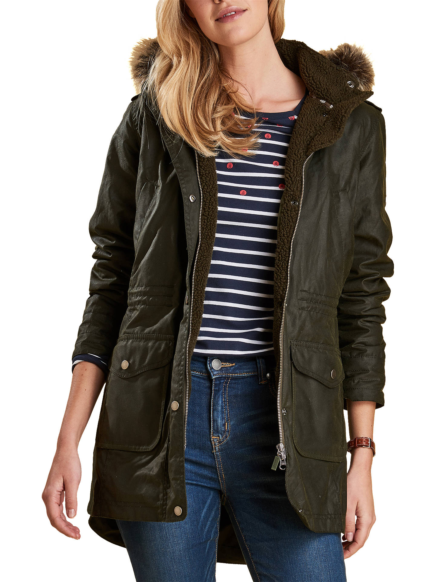 Buy Barbour Bridport Waxed Hooded Jacket, Fern, 8 Online at johnlewis.com