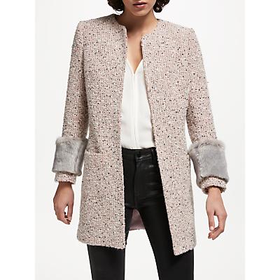 Helene For Denim Wardrobe Alice Faux Fur Trim Jacket, Pale Pink