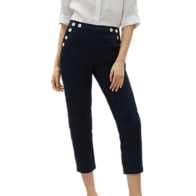 Jaeger Button Detail Trousers, Navy