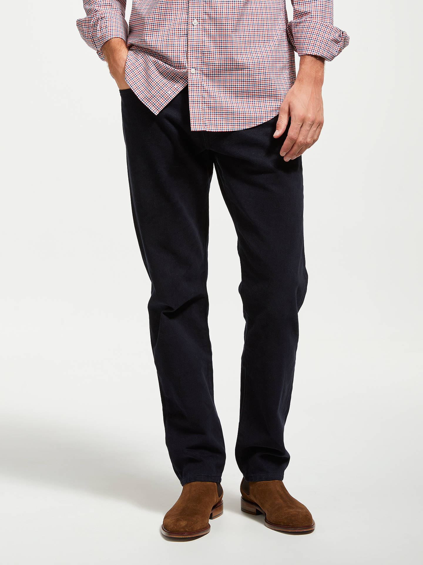 bfe7fb90cc Buy Gant Soft Twill Regular Straight Jeans, Navy, 34S Online at  johnlewis.com ...