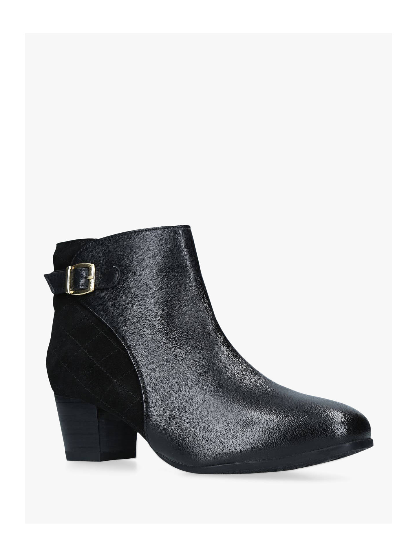 BuyCarvela Rule Block Heel Ankle Boots, Black Suede/Leather, 3 Online at johnlewis.com