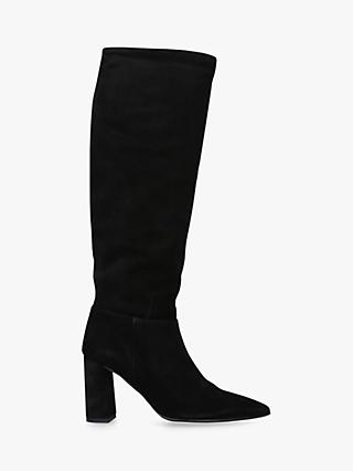 Carvela Wisp Suede Knee High Boots, Black