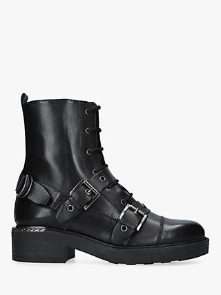 Carvela Stalwart Buckle Detail Ankle Boots, Black Leather