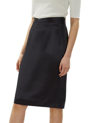 Jaeger Pleated Pencil Skirt, Navy