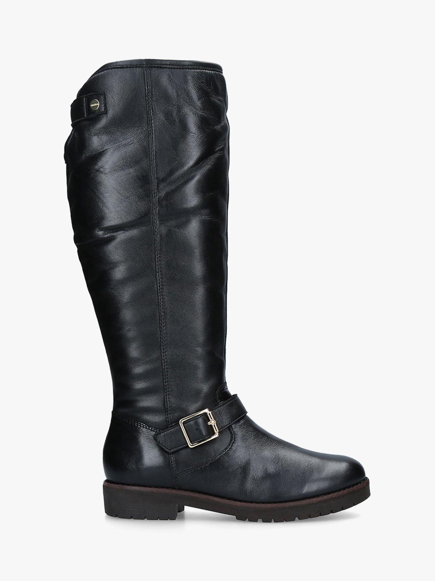 Carvela Carvela Samba Buckle Detail Knee High Boots, Black Leather