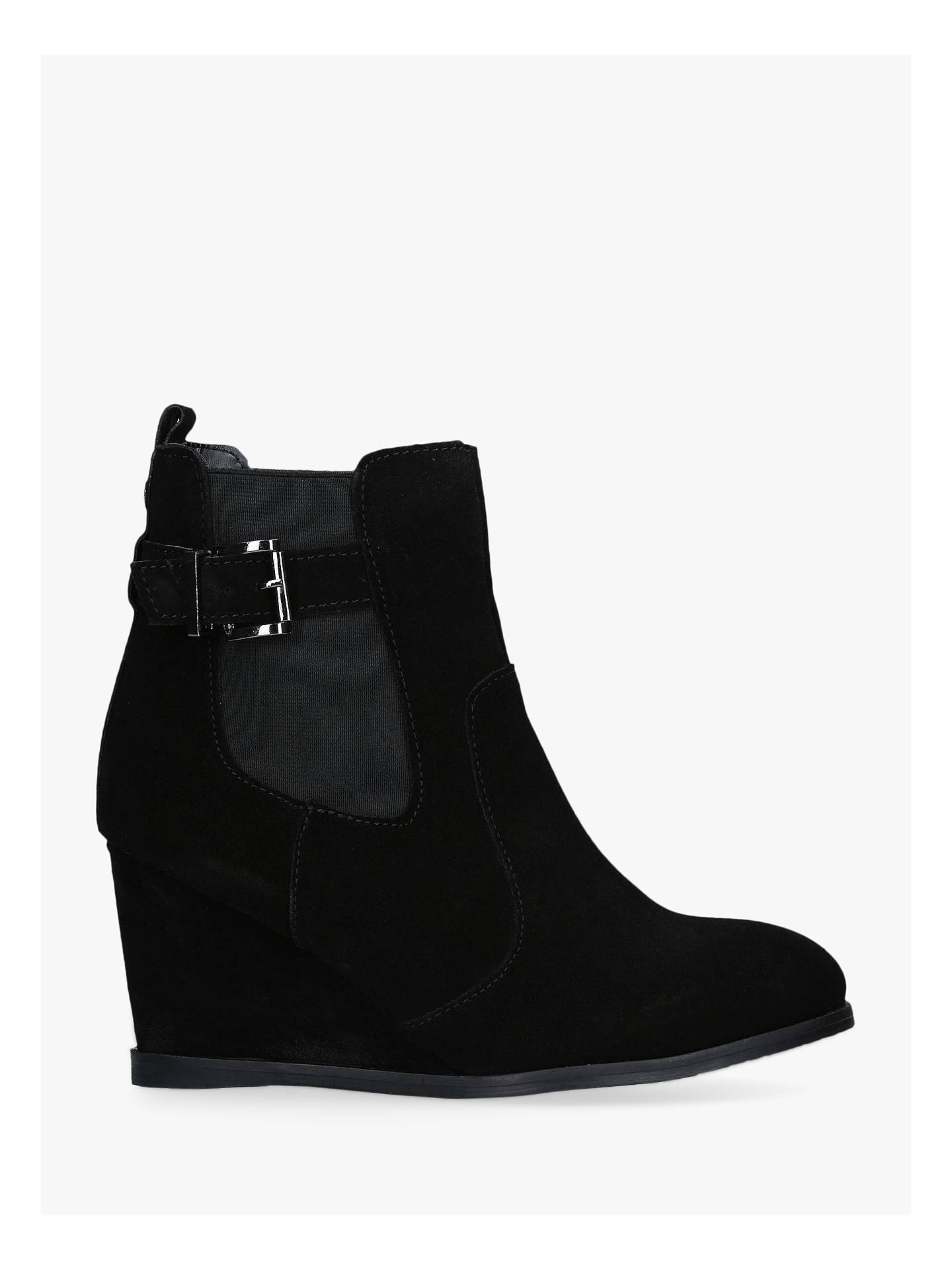 fa2b7dab26691 Carvela Sledge Wedge Ankle Boots, Black Suede at John Lewis & Partners