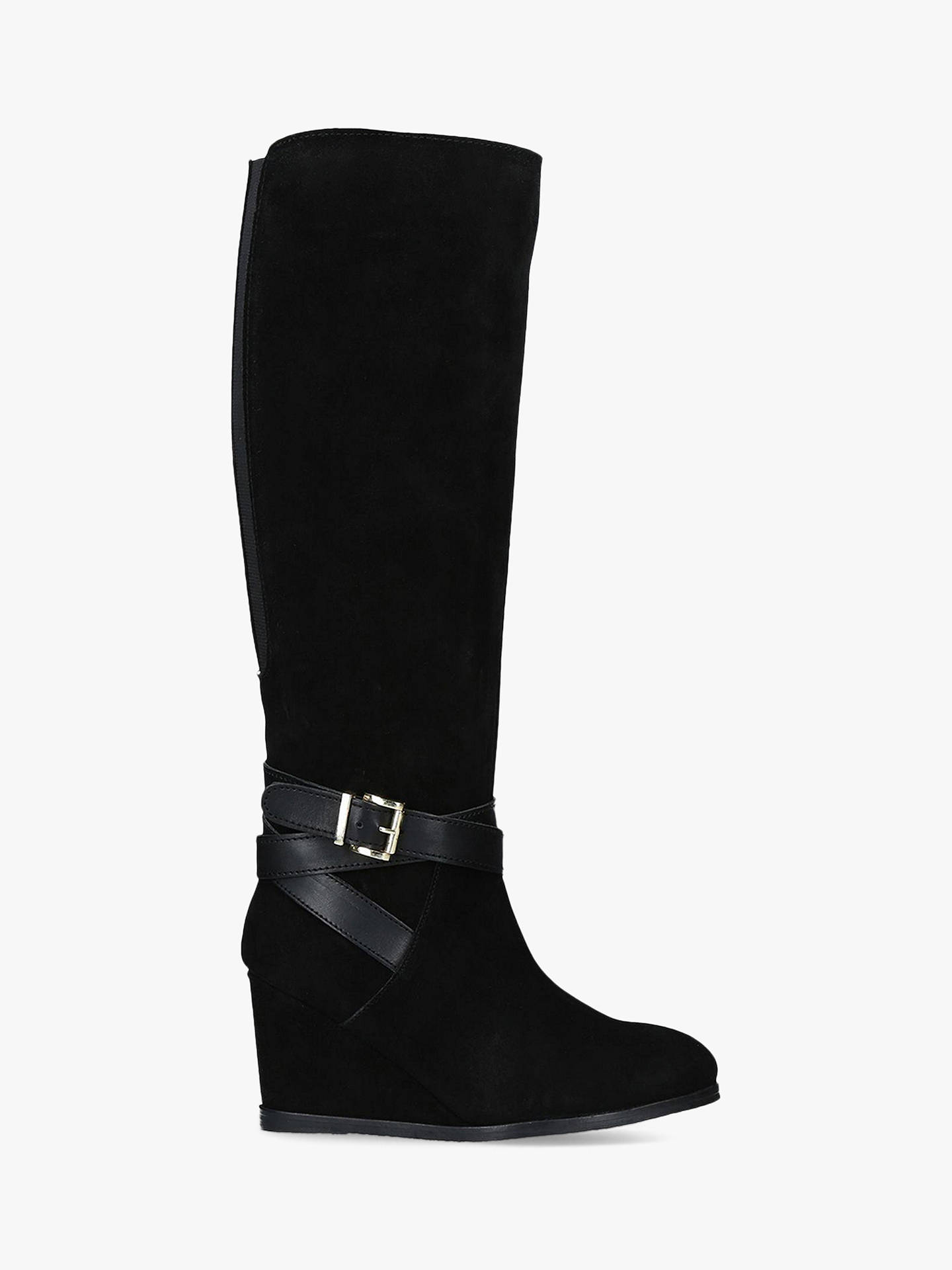 new photos innovative design size 40 Carvela Pledge Wedge Heel Knee High Boots, Black Suede at John ...
