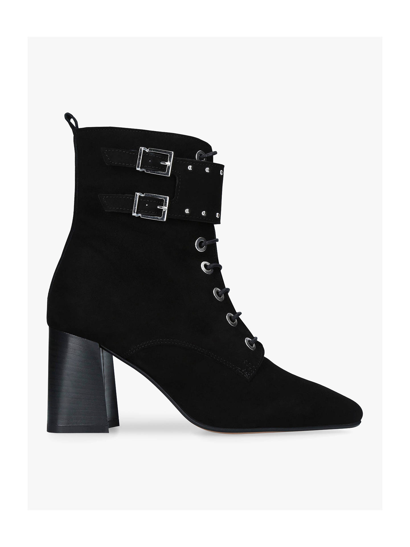 055fb20b17 Buy Carvela Swing Lace Up Block Heel Ankle Boots, Black Suede, 3 Online at  ...