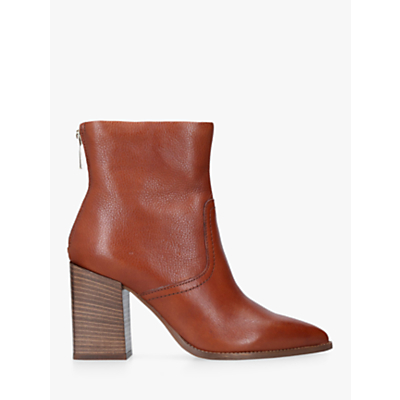 Carvela Shot High Block Heel Ankle Boots, Tan Leather