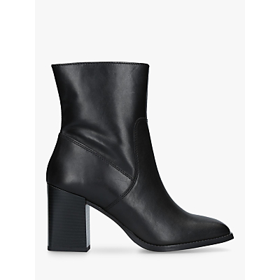 Carvela Shiraz Block Heeled Ankle Boots, Black Leather