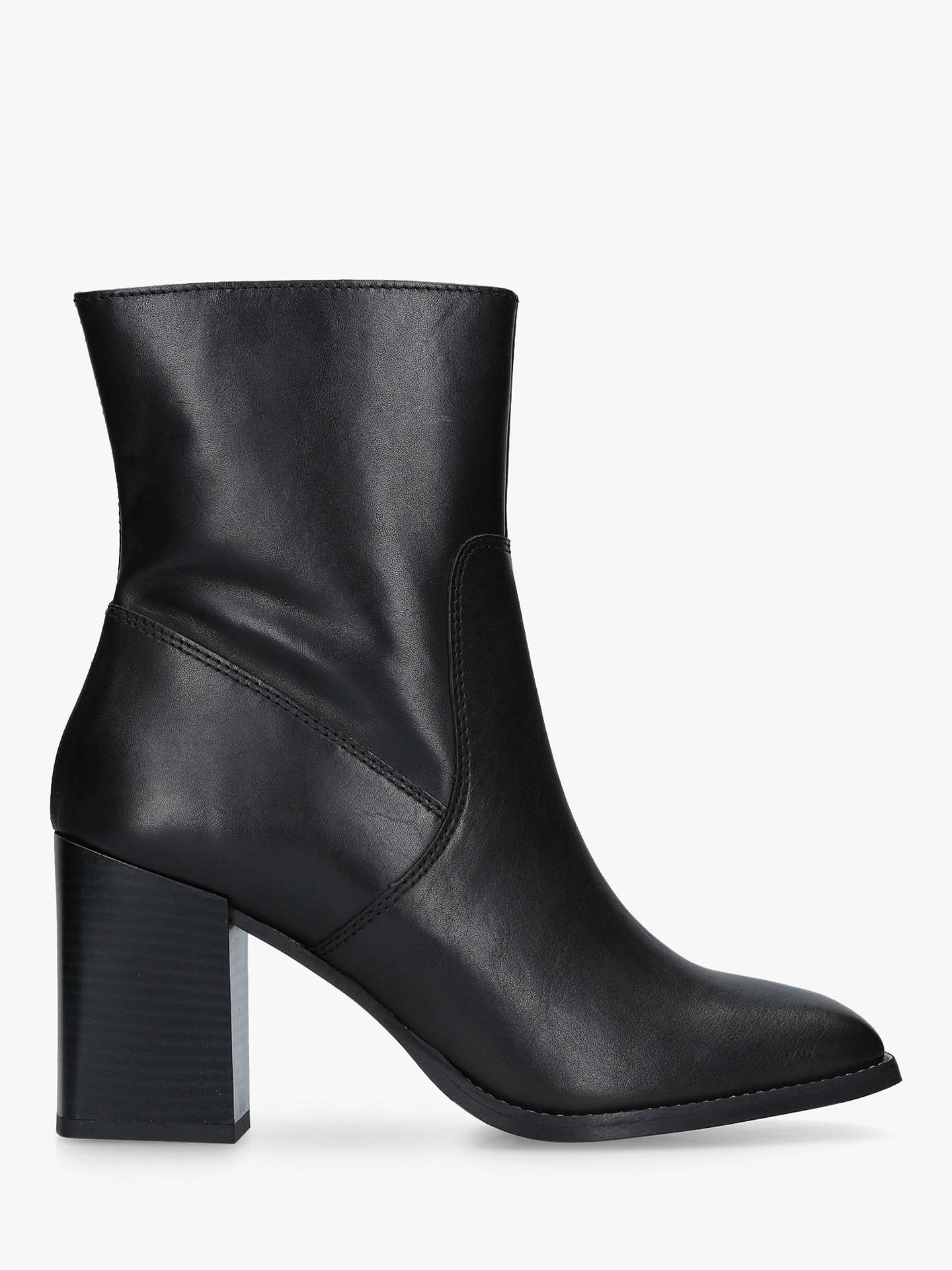 BuyCarvela Shiraz Block Heeled Ankle Boots, Black Leather, 3 Online at johnlewis.com