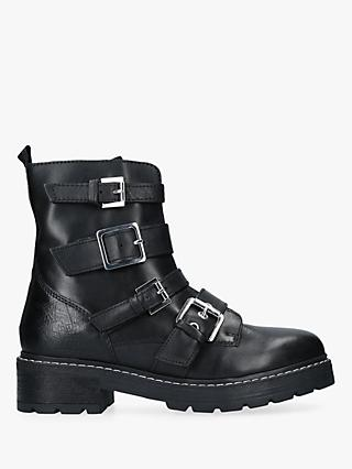 Carvela Sprint Buckle Strap Ankle Boots, Black Leather