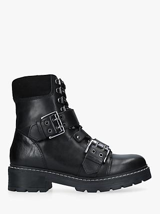 Carvela Saunter Buckle Ankle Boots, Black Leather
