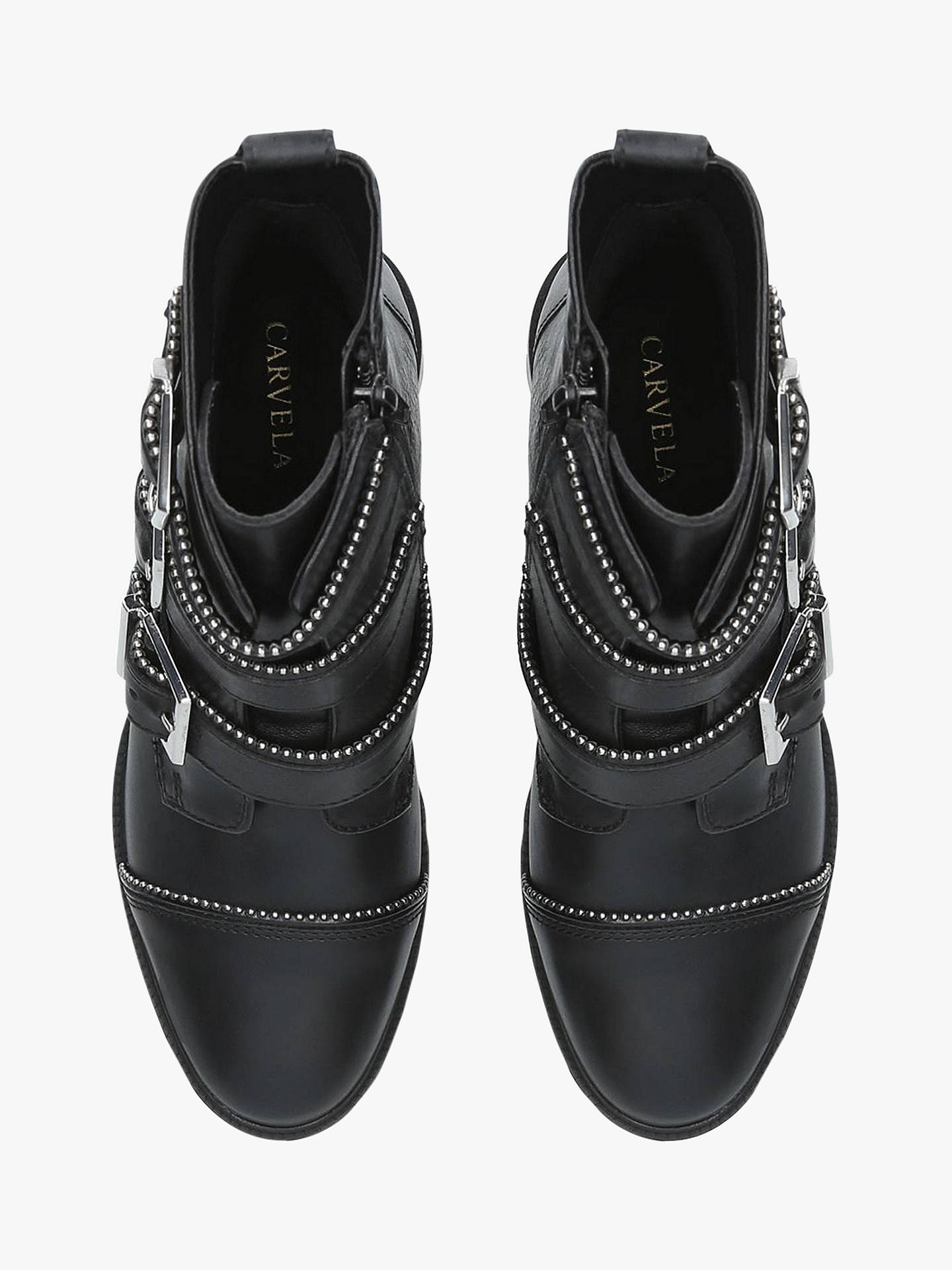 BuyCarvela Sparse Triple Buckle Ankle Boots, Black Leather, 3 Online at johnlewis.com