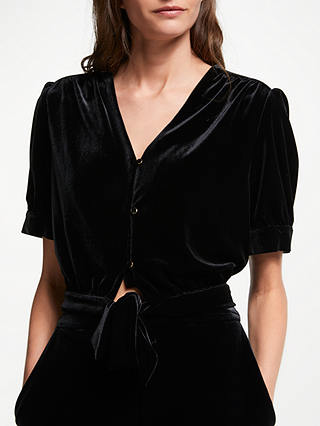 Buy Somerset by Alice Temperley Velvet Tie Front Top, Black, 8 Online at johnlewis.com