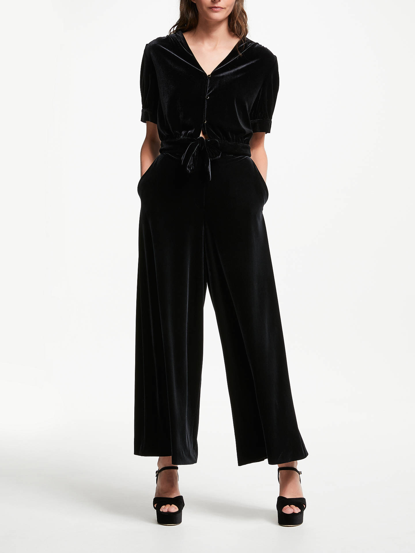 BuySomerset by Alice Temperley Velvet Tie Front Top, Black, 8 Online at johnlewis.com