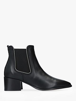 Carvela Spire Block Heel Studded Ankle Boots, Black Leather