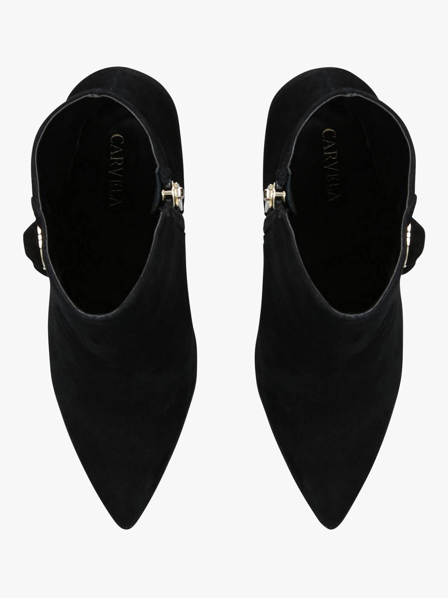 Buy Carvela Sum Cone Heel Ankle Boots, Black Suede, 3 Online at johnlewis.com