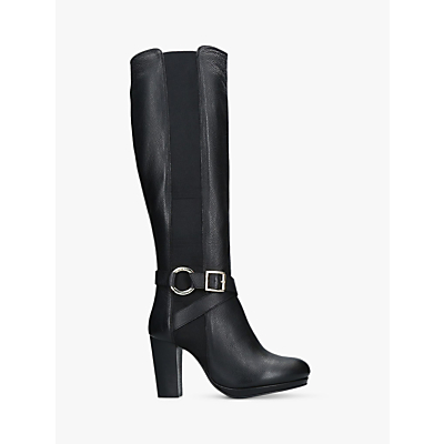 Carvela Kurt Geiger Total Knee High Block Heel Boots, Black Leather