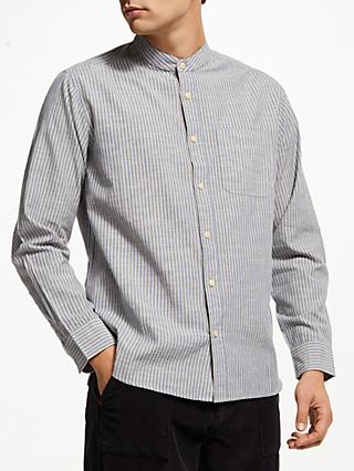 JOHN LEWIS & Co. Engineered Stripe Grandad Shirt, Blue/Yellow