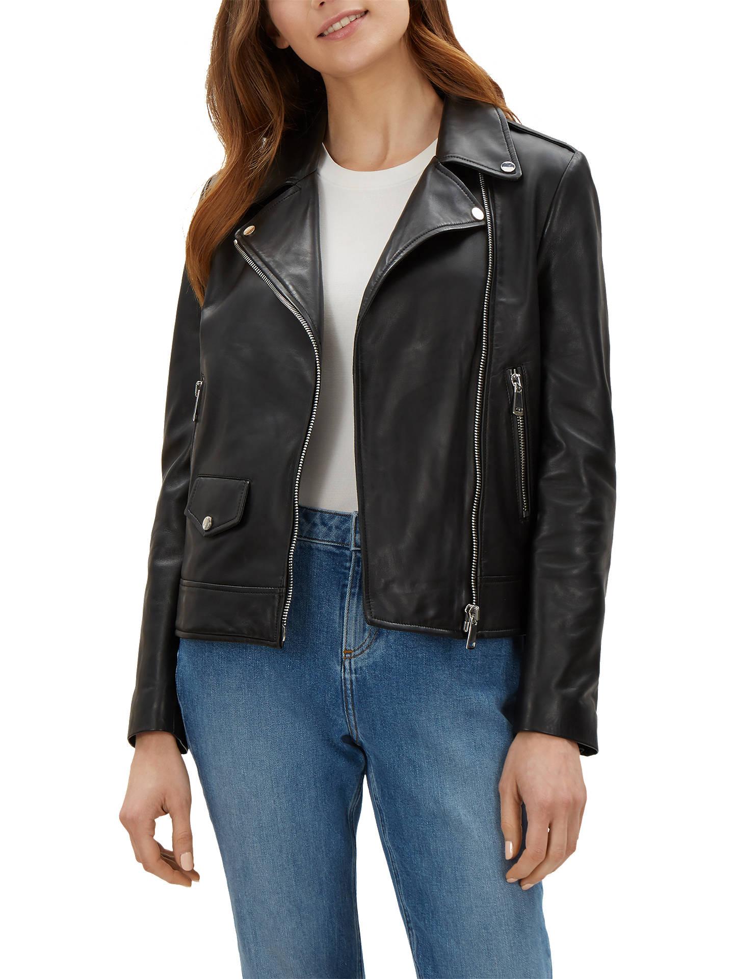 21798713e Jaeger Leather Biker Jacket, Black