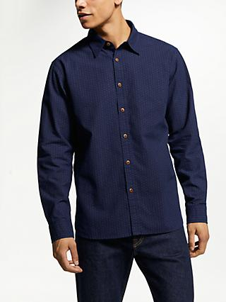 JOHN LEWIS & Co. Point Collar Atlas Print Shirt, Blue