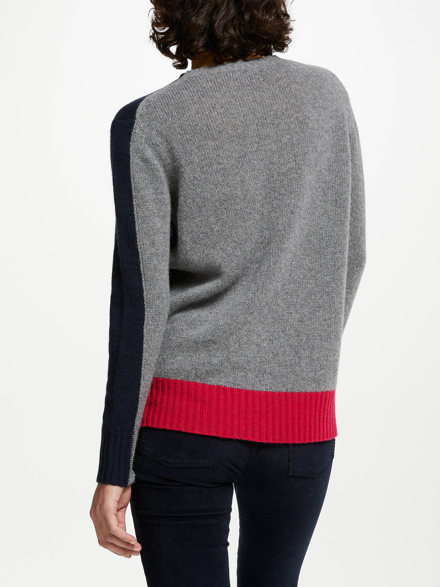 Buy 360 Sweater Franny Colour Block Cashmere Jumper, Navy/Heather Grey/Magenta, S Online at johnlewis.com