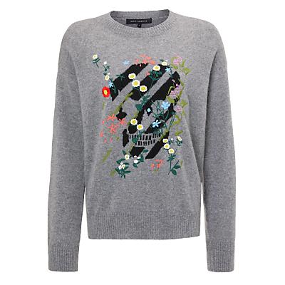 360 Sweater Aji Skull Cashmere Jumper, Heather Grey/Black