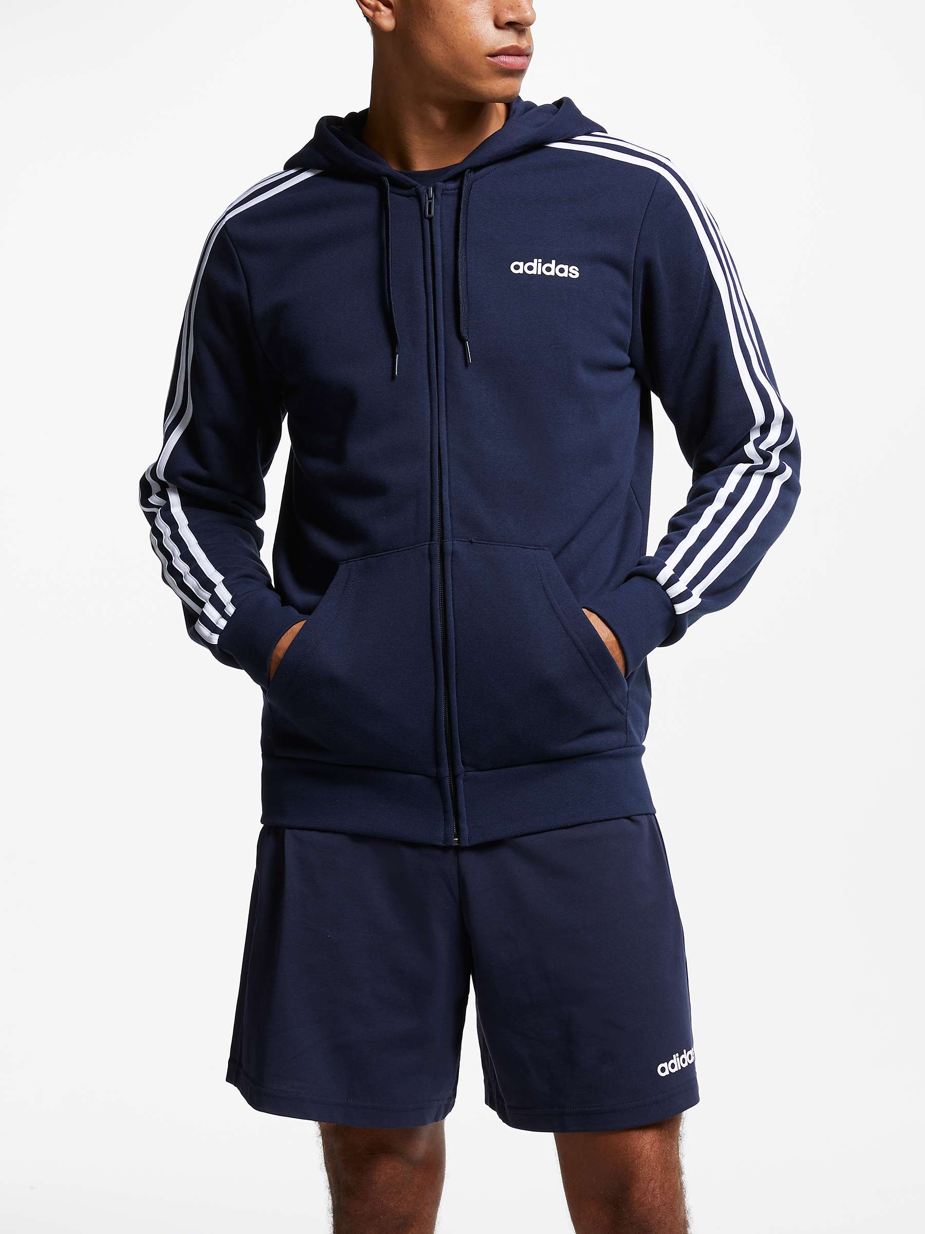 adidas Essentials 3 Stripes Hoodie, Navy