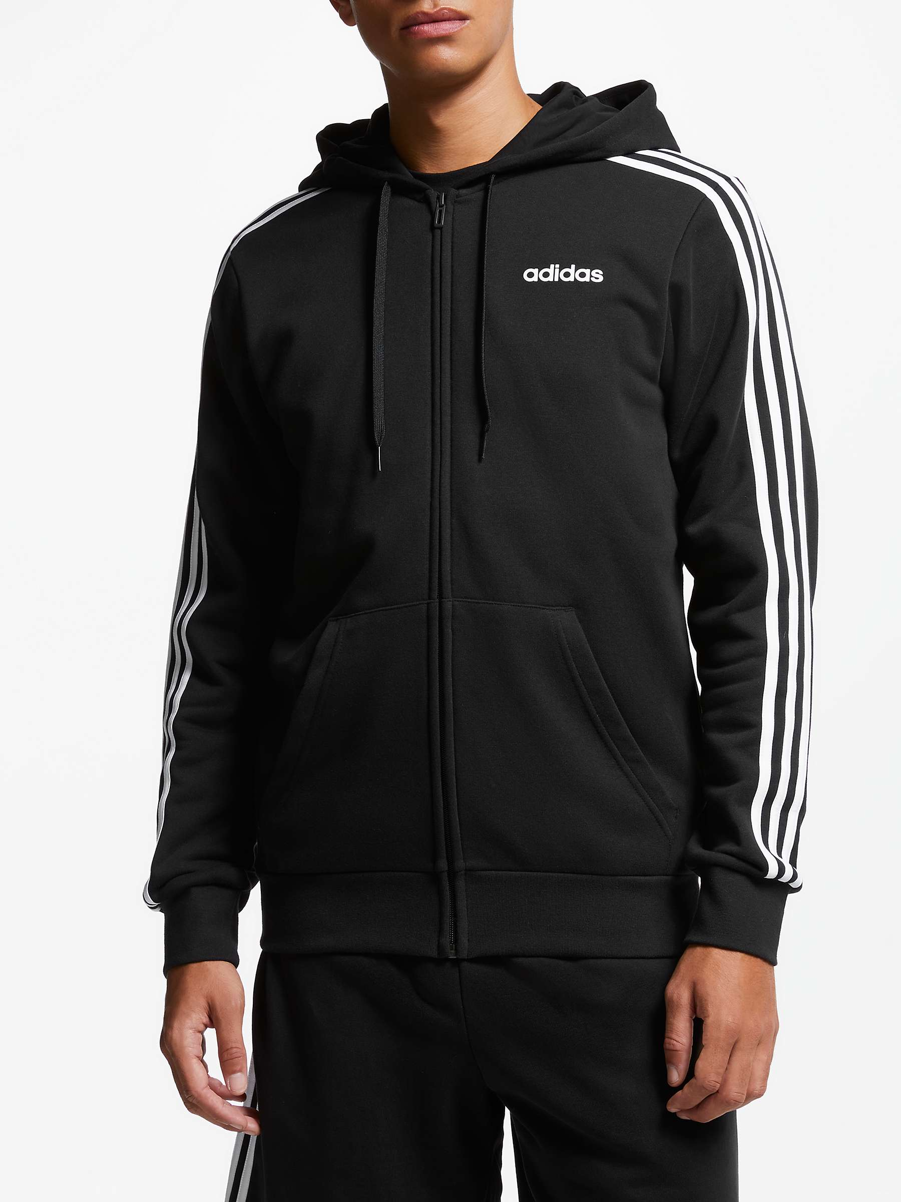 Inkonsekvent ego deposition  adidas Essentials 3-Stripes Hoodie, Black at John Lewis & Partners