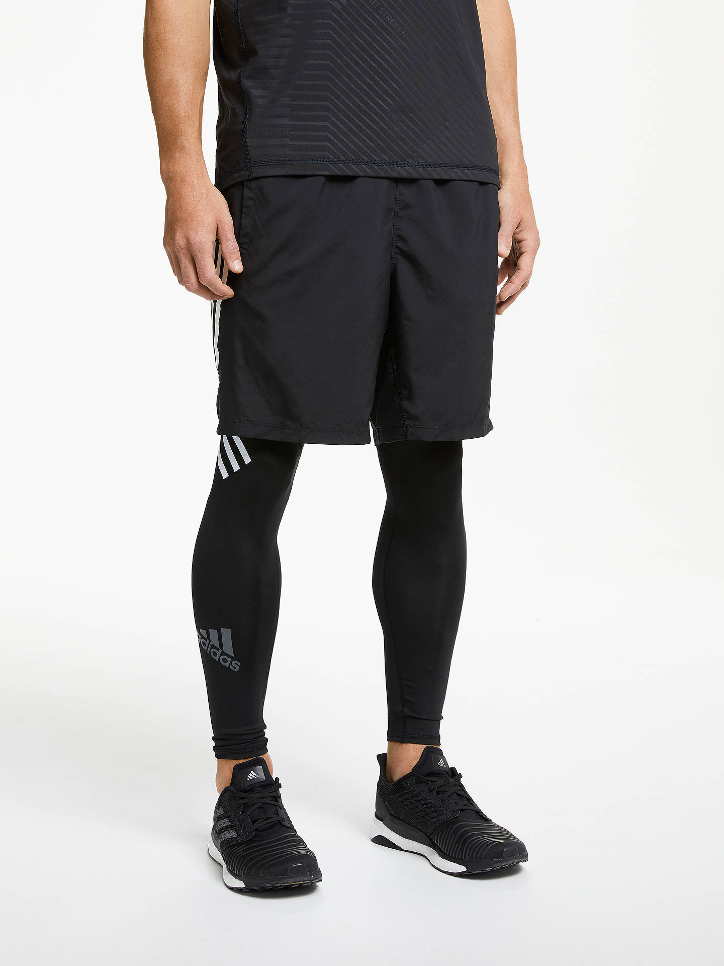f00b1e3072ebc Buy adidas Alphaskin Sport+ Long 3-Stripes Tights, Black, S Online at  johnlewis ...