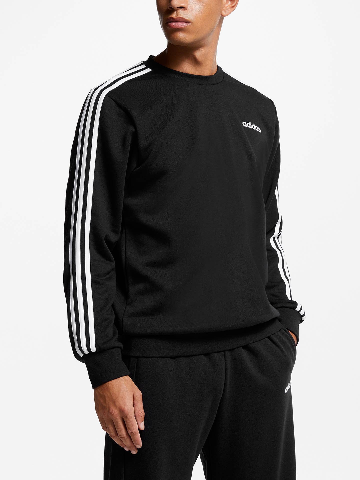 ceb982e685e Buy adidas Essentials 3-Stripes Sweatshirt, Black/White, S Online at  johnlewis ...