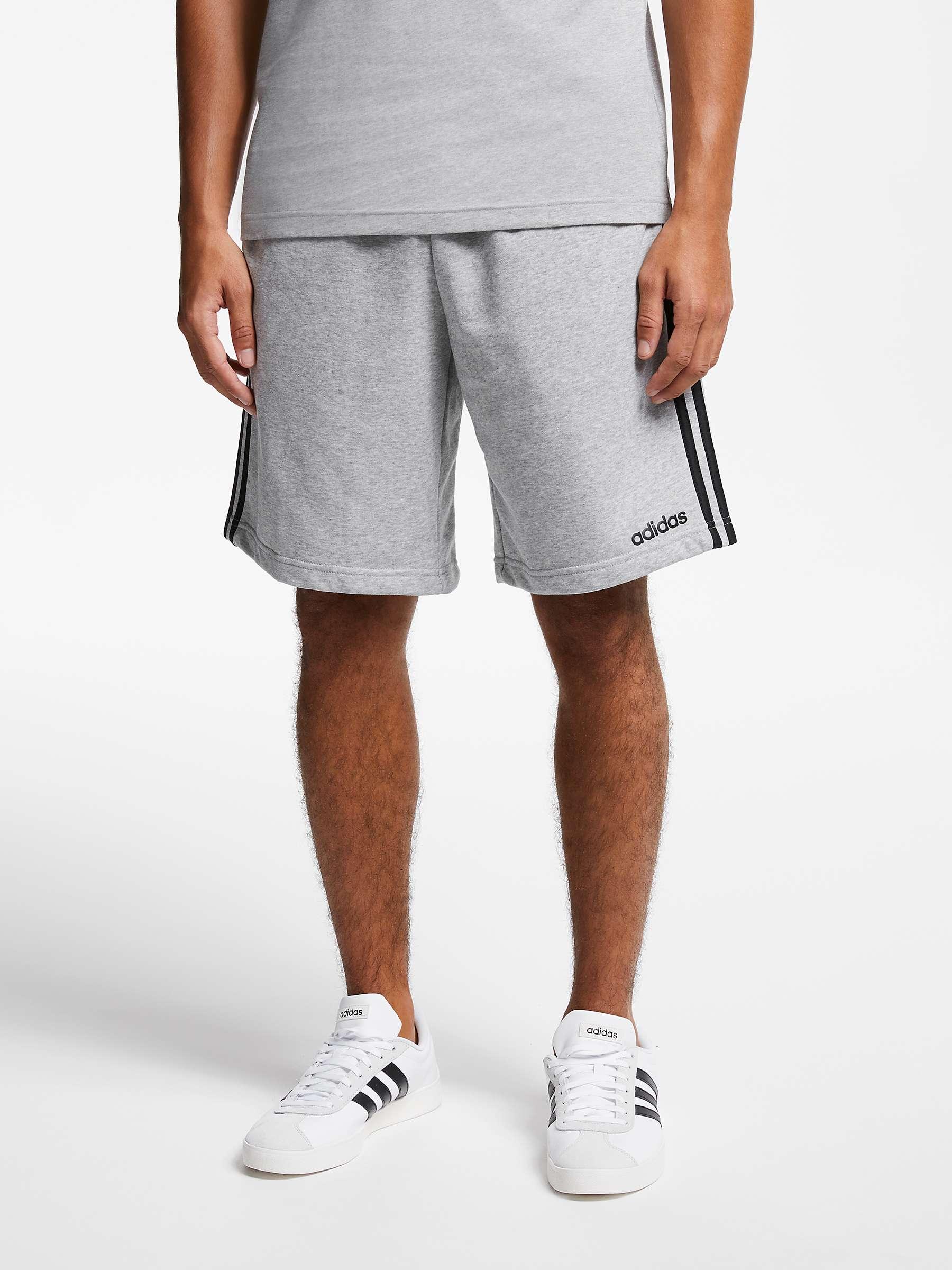 adidas Essentials 3 Stripes French Terry Shorts, Medium Grey