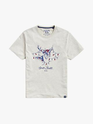 Joules Deer Santa Christmas T-Shirt, Cream Marl