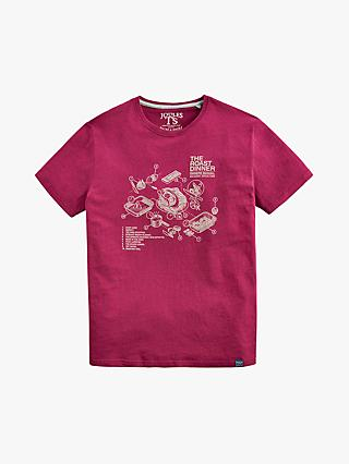 Joules Christmas Dinner Christmas T-Shirt, Port