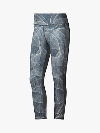 Reebok Abstract Print Cropped Running Tights, Cold Grey