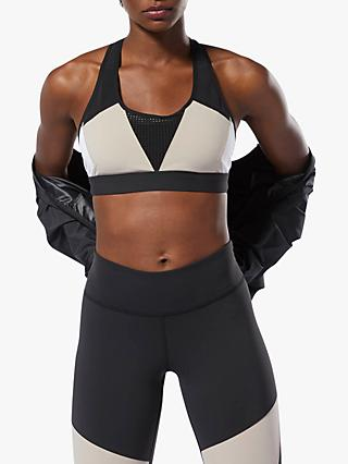 Reebok Hero Racer Padded Sports Bra, Light Sand